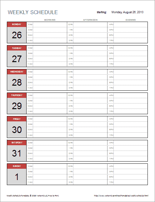 Free Weekly Schedule Template for Excel – Word Template Weekly Calendar