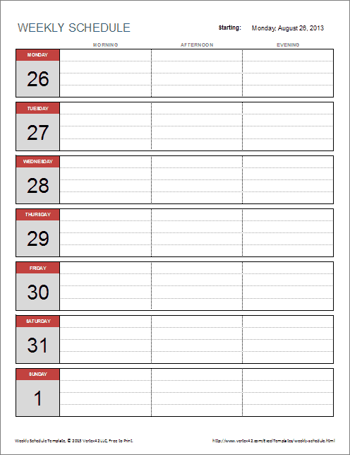 Free Weekly Schedule Template for Excel – Free Week Calendar Template