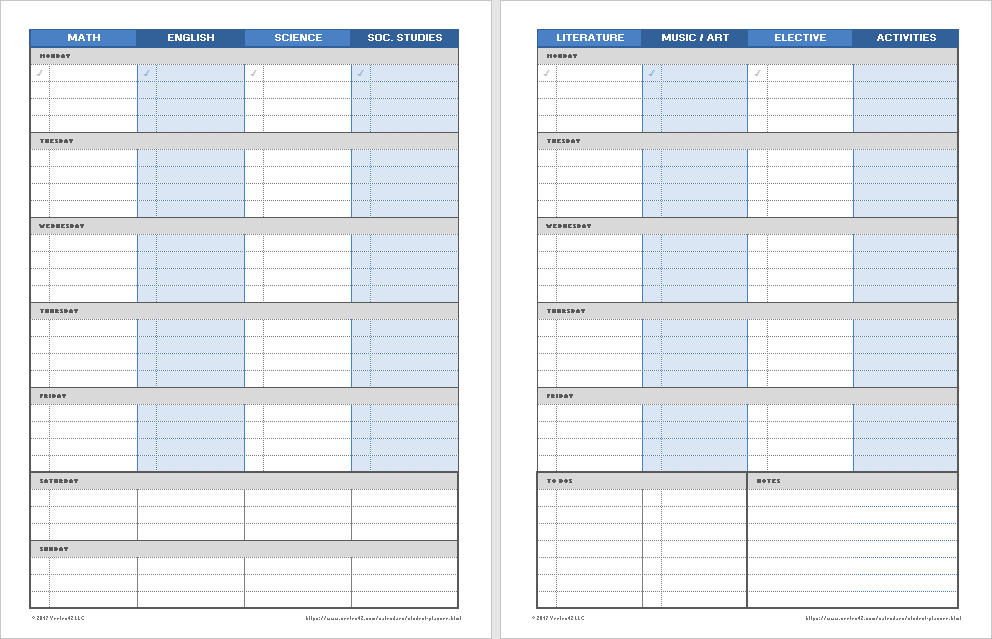 graphic relating to Student Planner Printable called Printable Weekly Pupil Planners