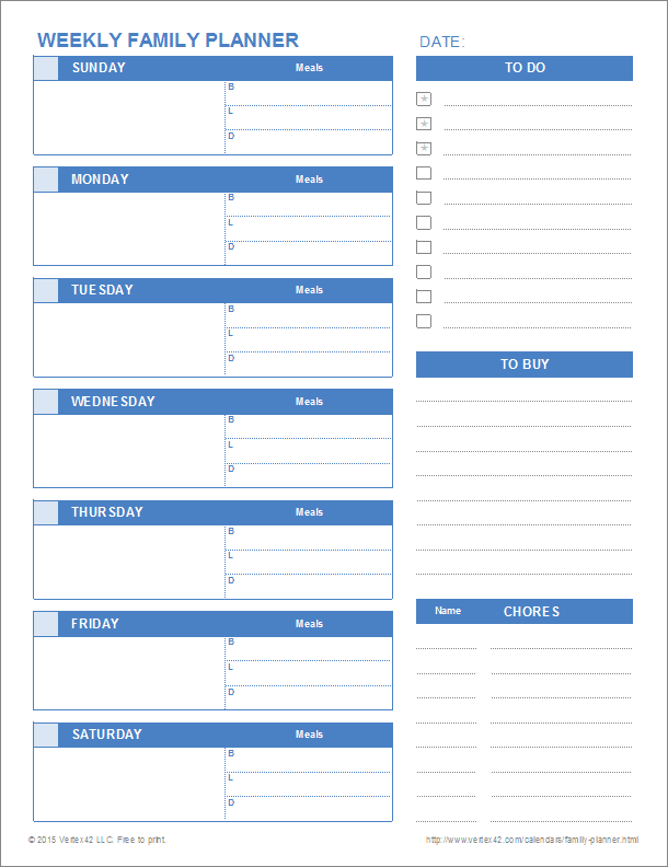 Weekly Family Planner  Free Daily Calendar Template With Times