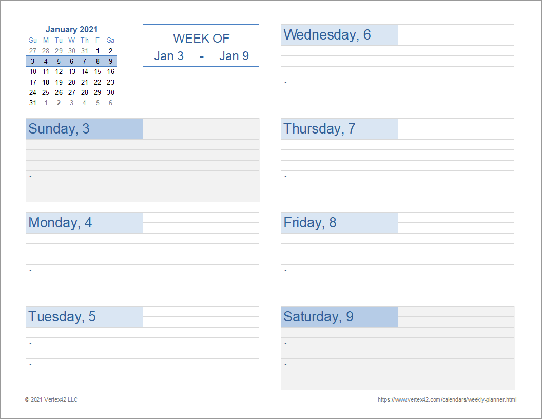 Weekly Planner (Landscape)
