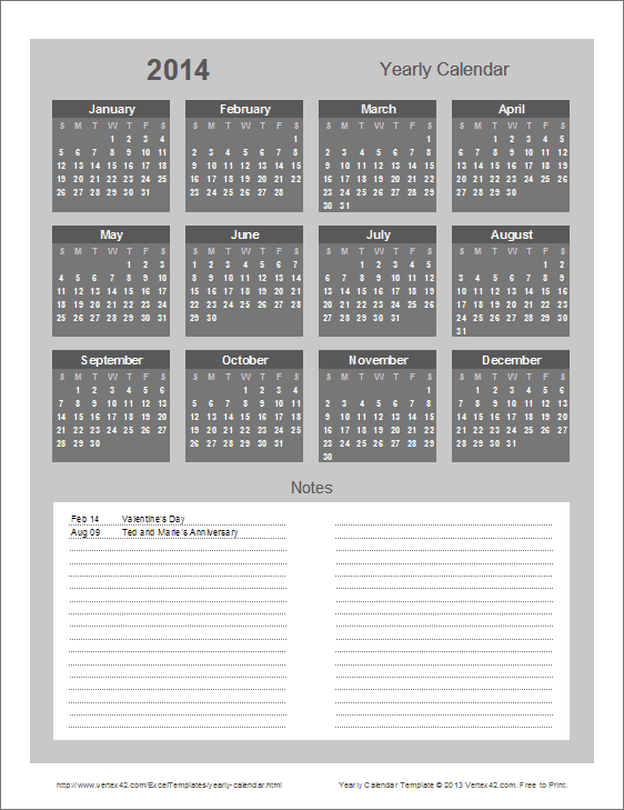Year Calendar With Notes : Yearly calendar template for and beyond