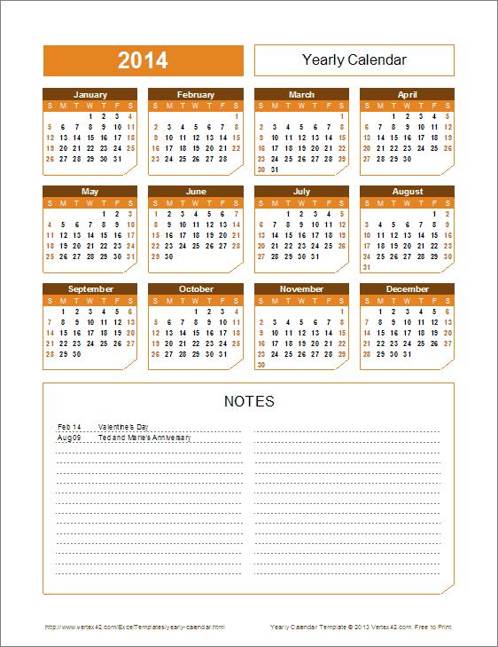 2016 Yearly Calendar Template (Chamfer theme)