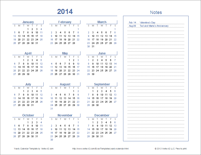 Printable Year At A Glance Calendar 2014 Printable Calendar