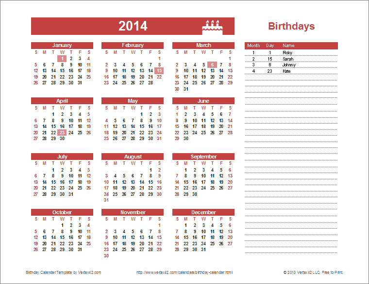 Yearly Birthday Calendar Template