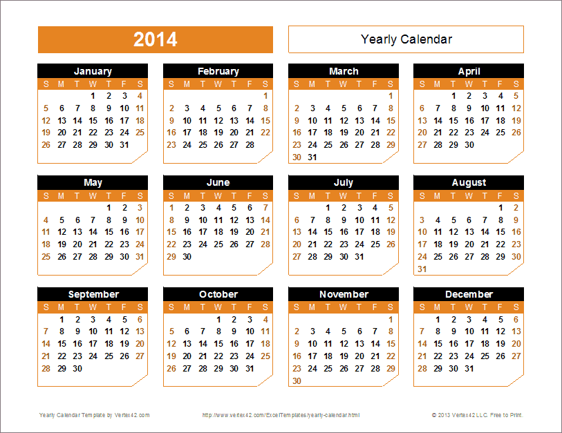 2014 Yearly Calendar Templates