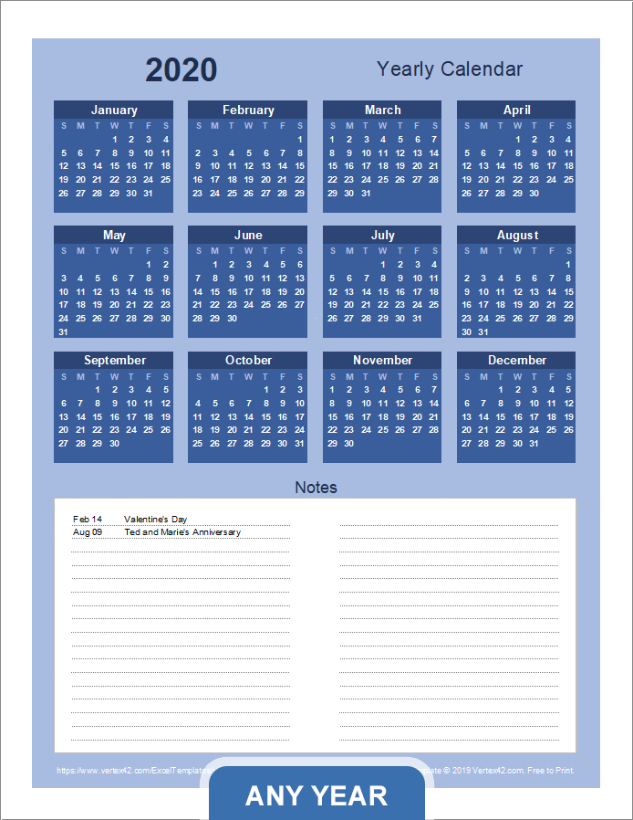 Yearly Calendar with Notes - Portrait (Bold Theme)