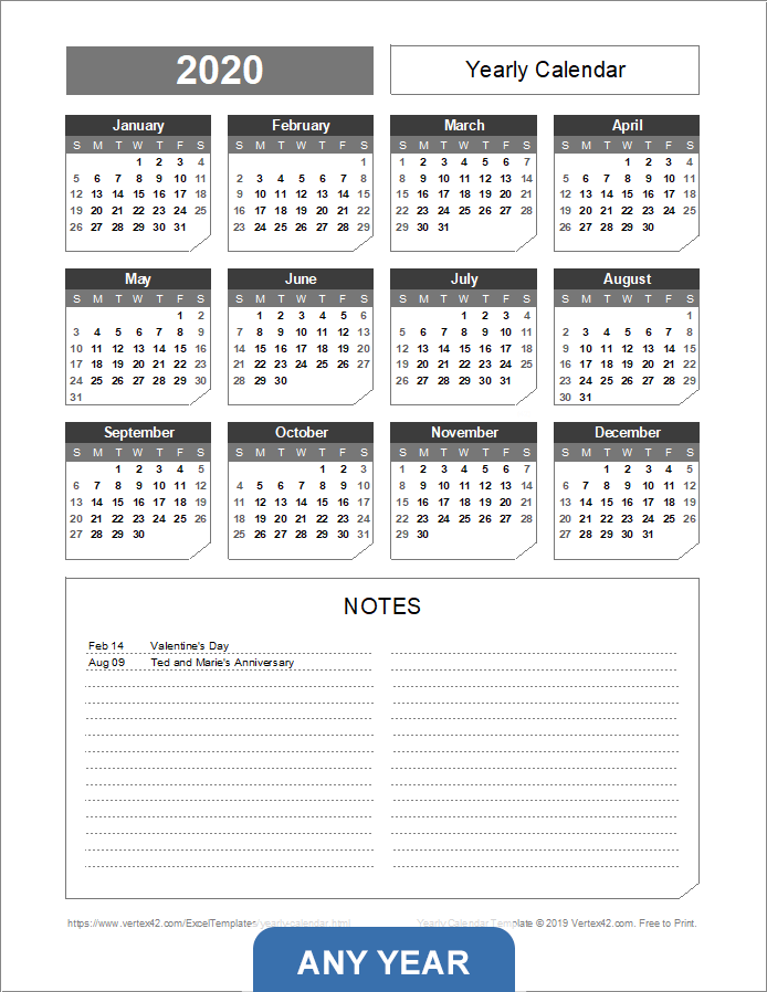Yearly Calendar with Notes - Portrait (Chamfer Theme)