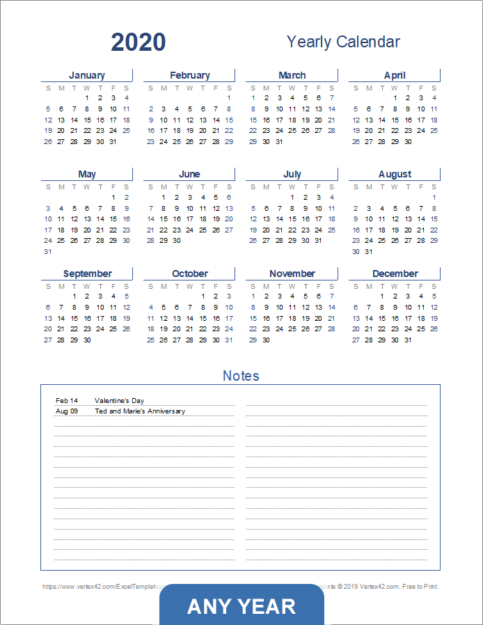 Yearly Calendar with Notes - Portrait (Light Theme)