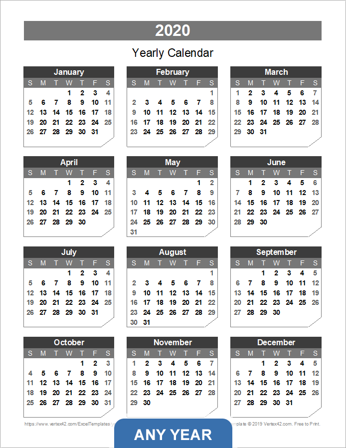Yearly calendar template for 2016 and beyond for Yearly vacation calendar template