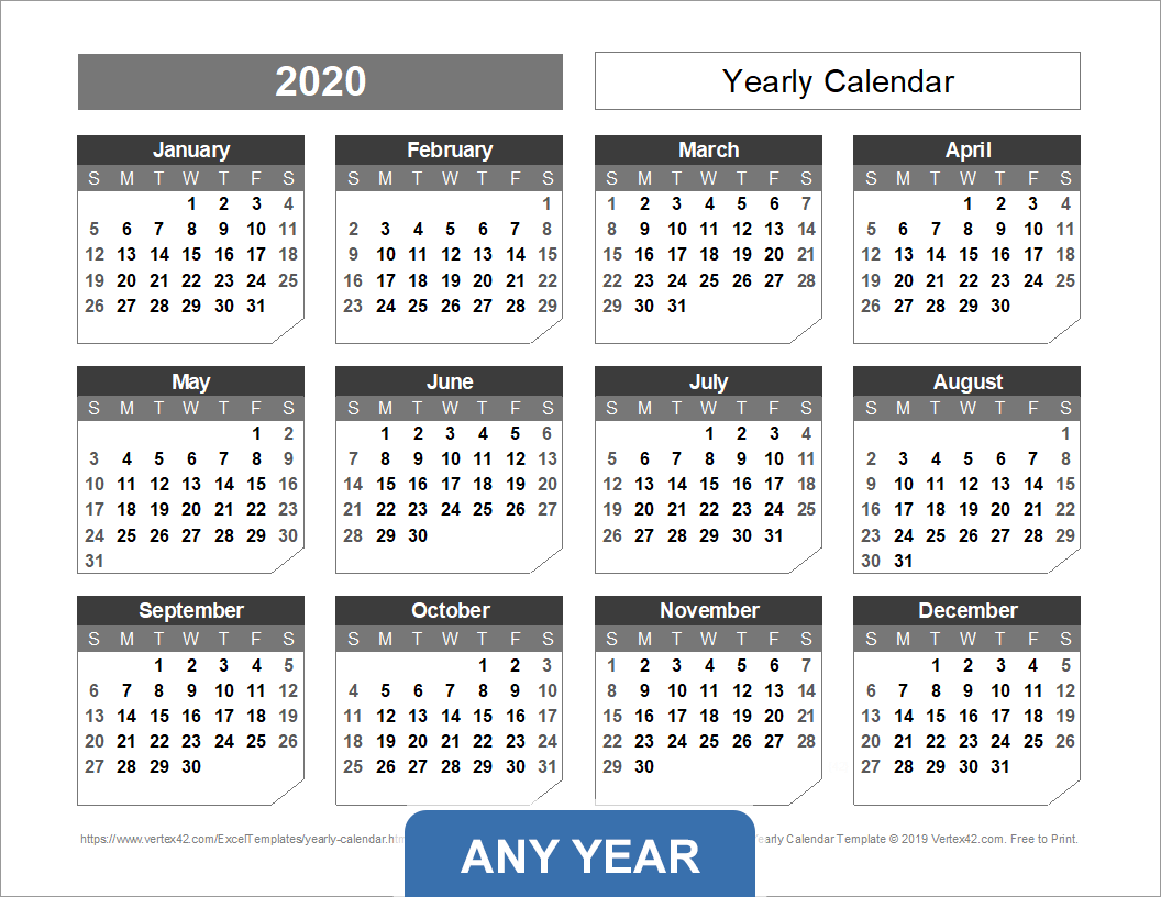 picture about 3 Year Calendar Printable identified as On a yearly basis Calendar Template for 2019 and Outside of