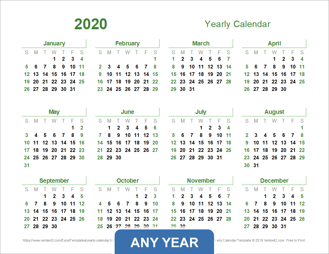 Year Calendar To Download : Yearly calendar template for and beyond