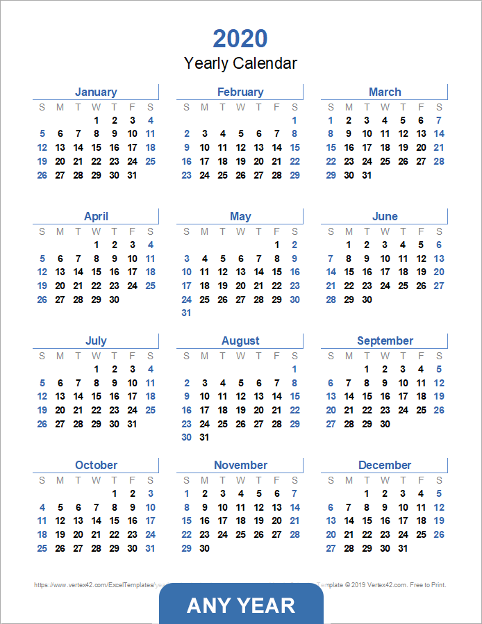 yearly calendar template for 2019 and beyond