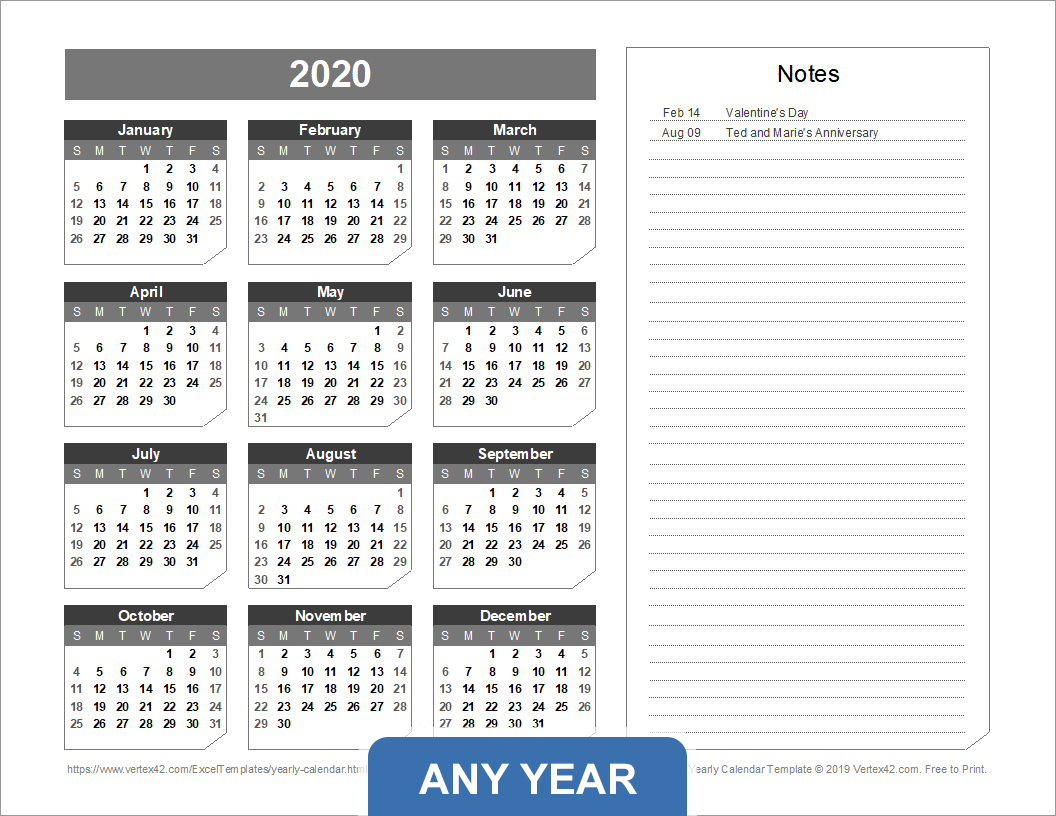 Yearly Calendar with Notes (Chamfer Theme)