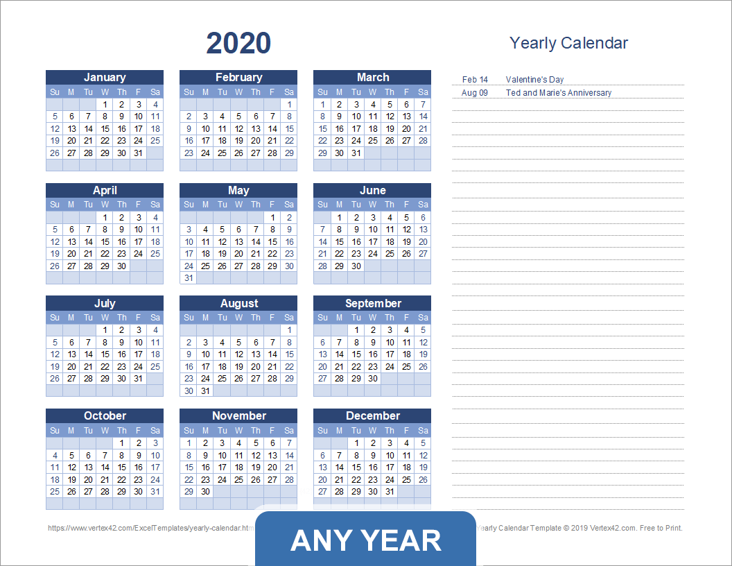 Printable Yearly Calendar with Notes