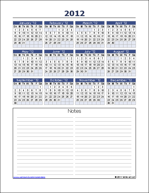 Yearly Calendar with Notes (Portrait)