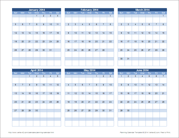 Planning Calendar Template - Yearly