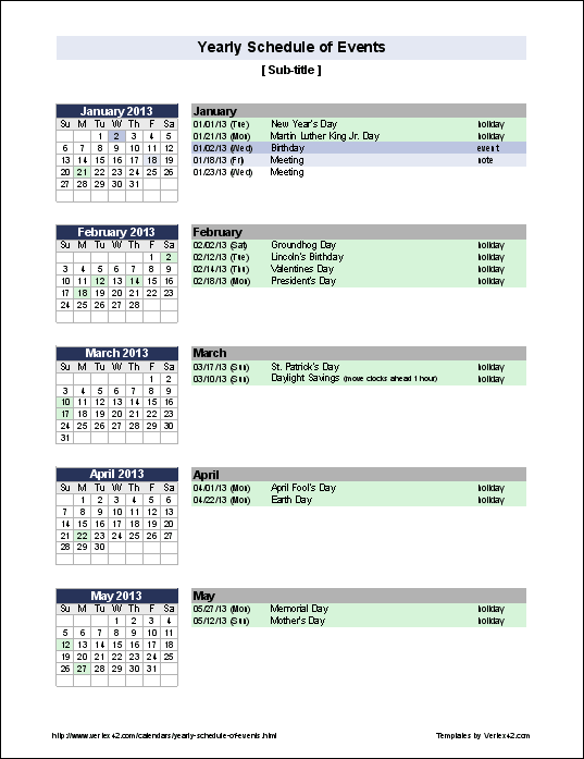 Excel templates for Annual calendar of events template