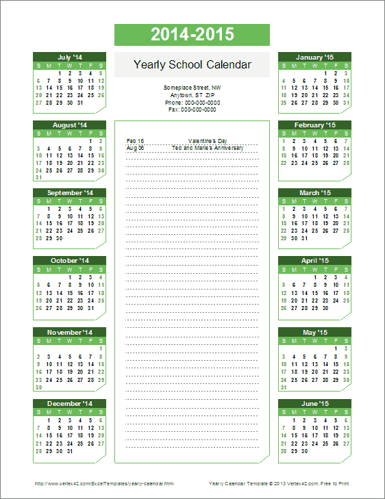 2015-2016, 2016-2017 Yearly School Calendar Template