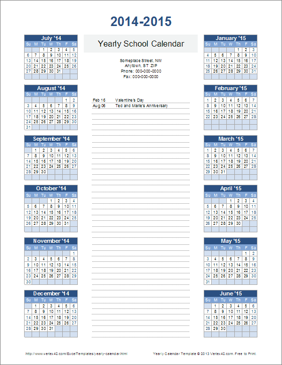 academic yearly calendar