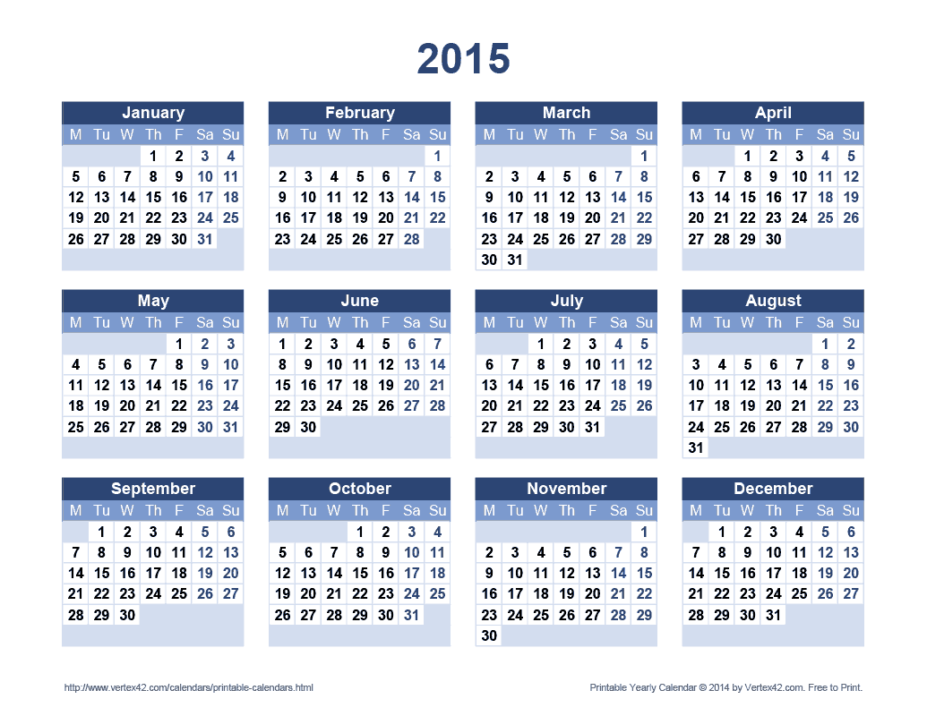 2015 Calendar With All Months One One Page/page/2 | New Calendar ...