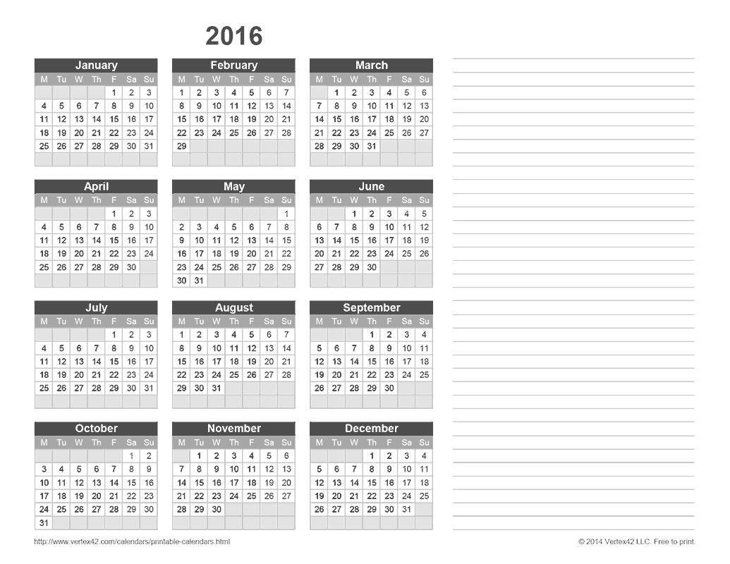 Download the 2016 Yearly Calendar with Notes