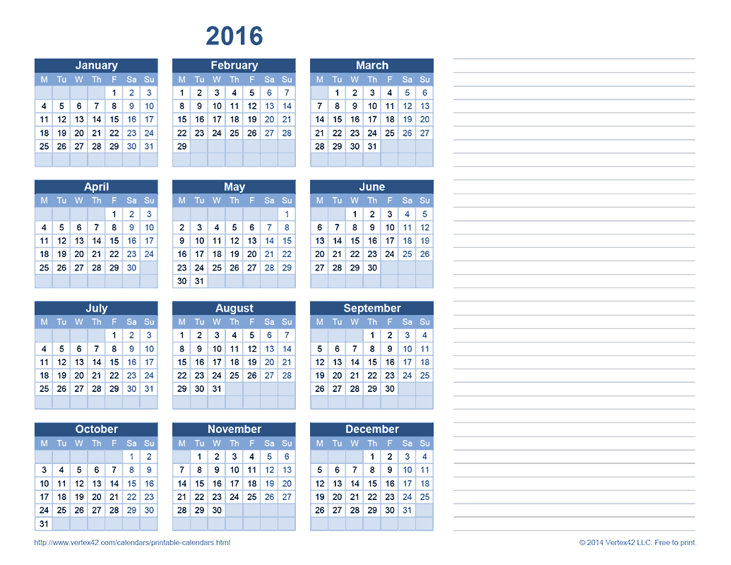 2016 Yearly Calendar with Notes