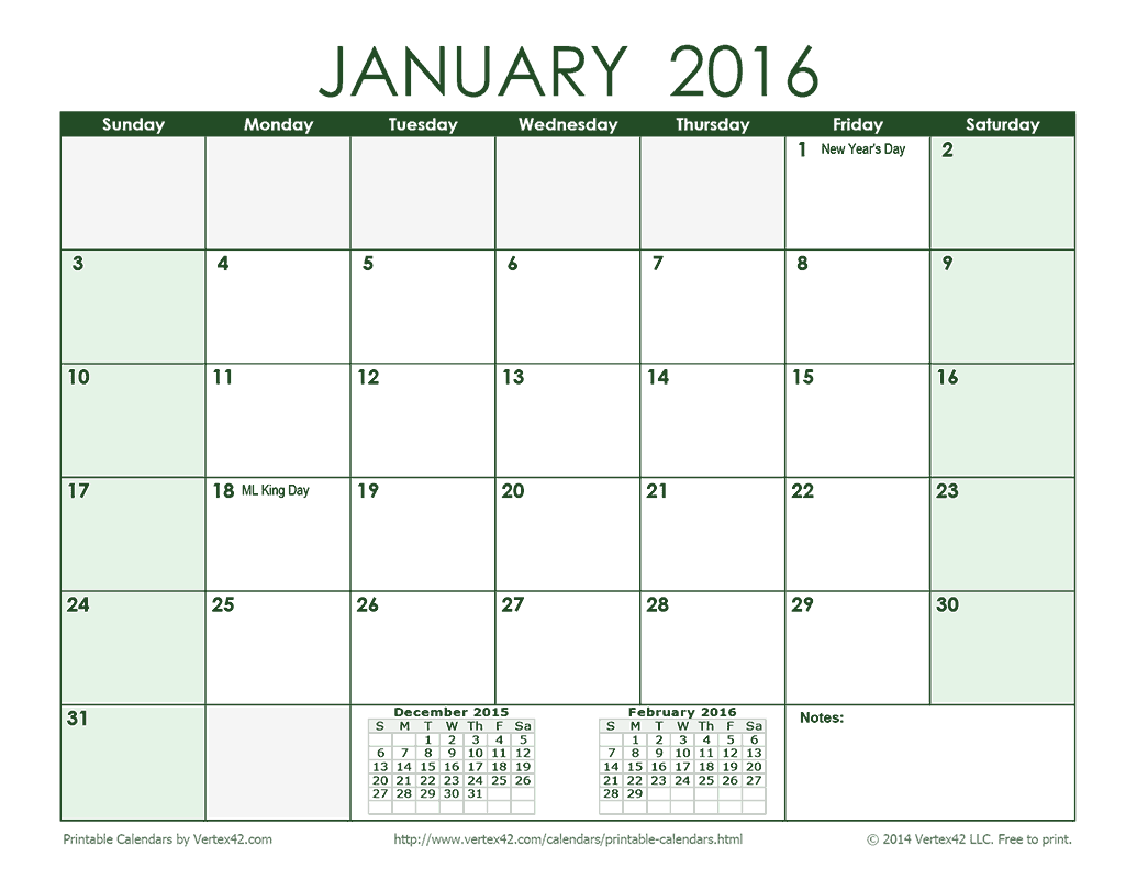 Calendar Green : Download the monthly calendar green