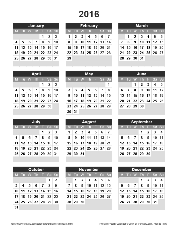 Printable 2016 Yearly Calendar