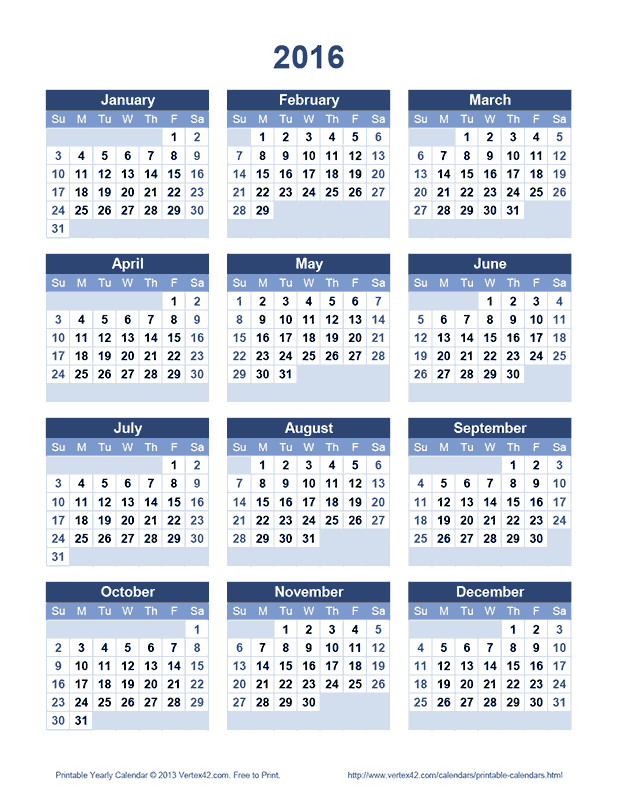 Download the printable 2016 yearly calendar