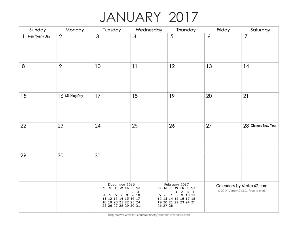 Printable Ink Saver 2017 Calendar