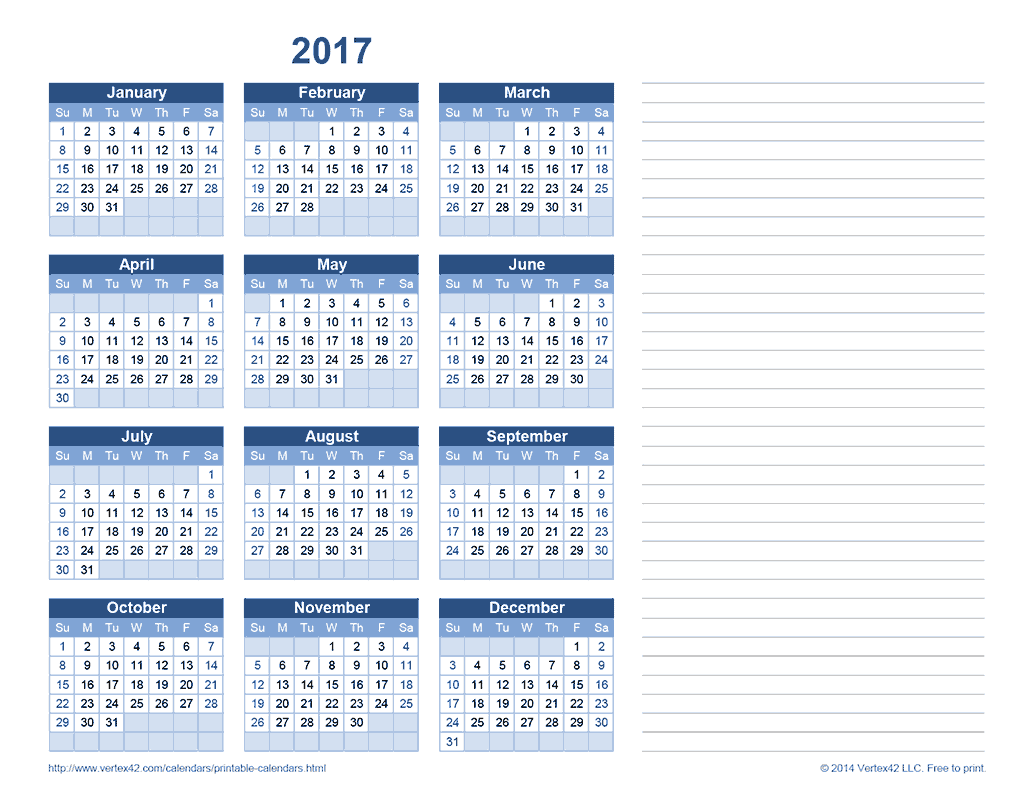 2017 Yearly Calendar with Notes