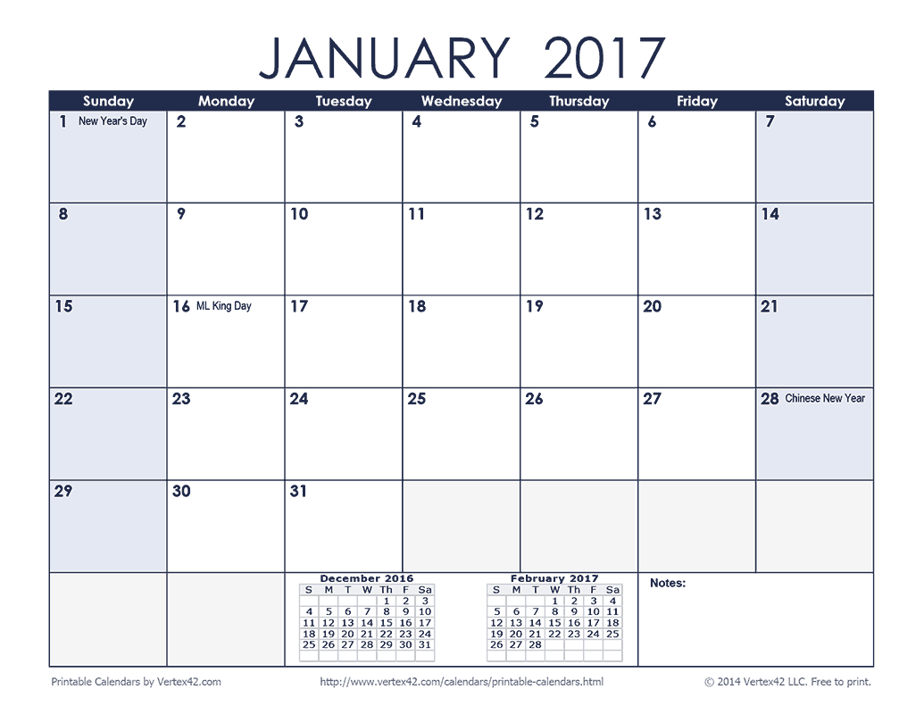 2017 Monthly Calendar - Blue