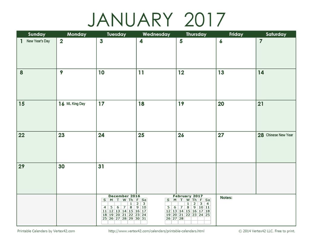 2017 Monthly Calendar - Green