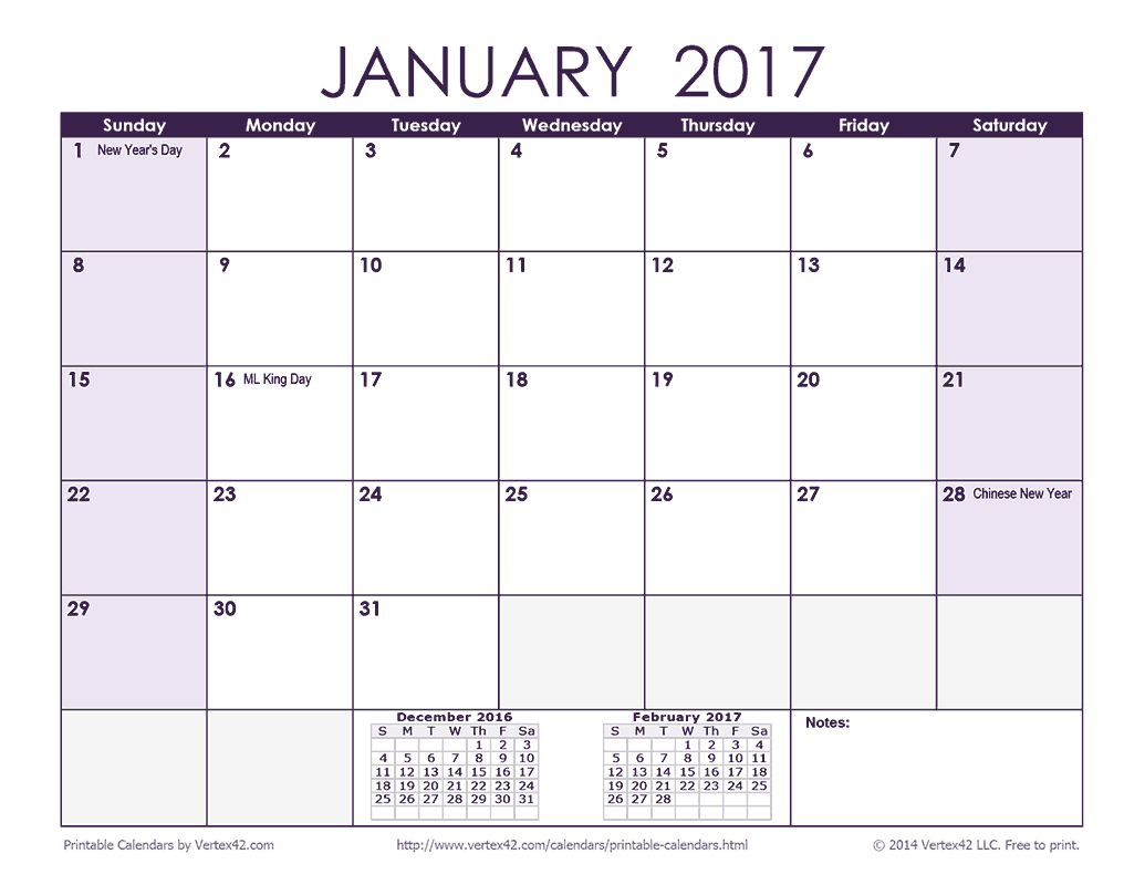 2017 Monthly Calendar - Purple