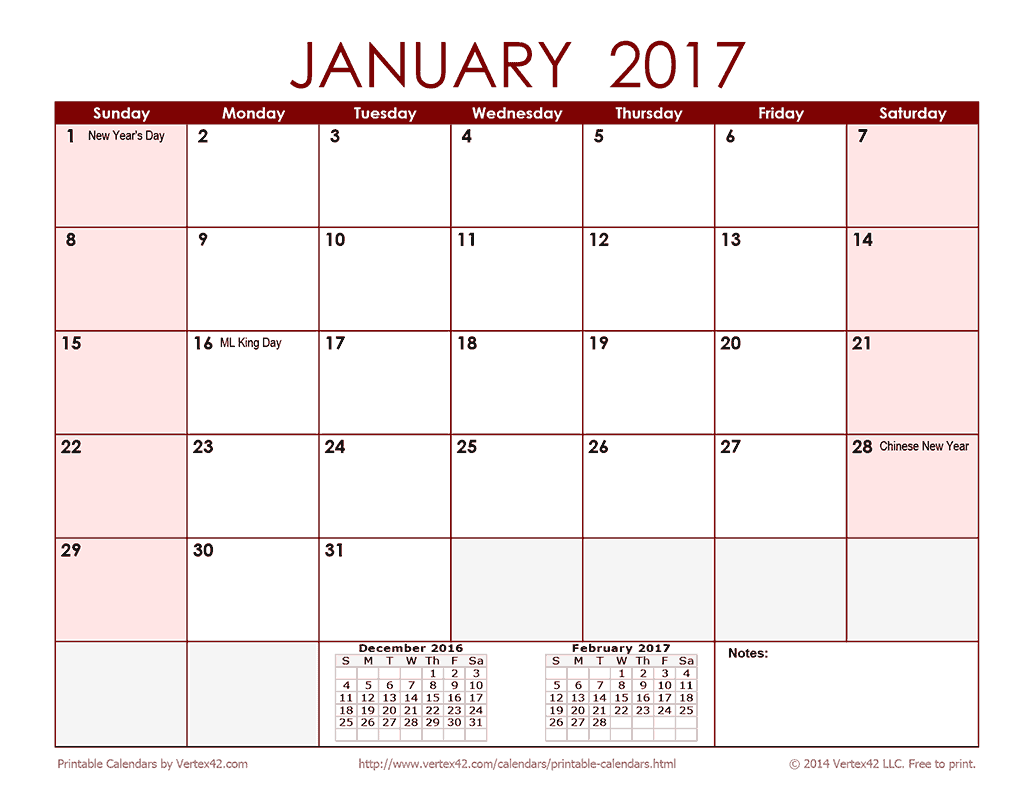 2017 Monthly Calendar - Red