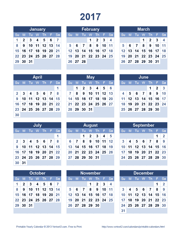 Printable 2017 Yearly Calendar