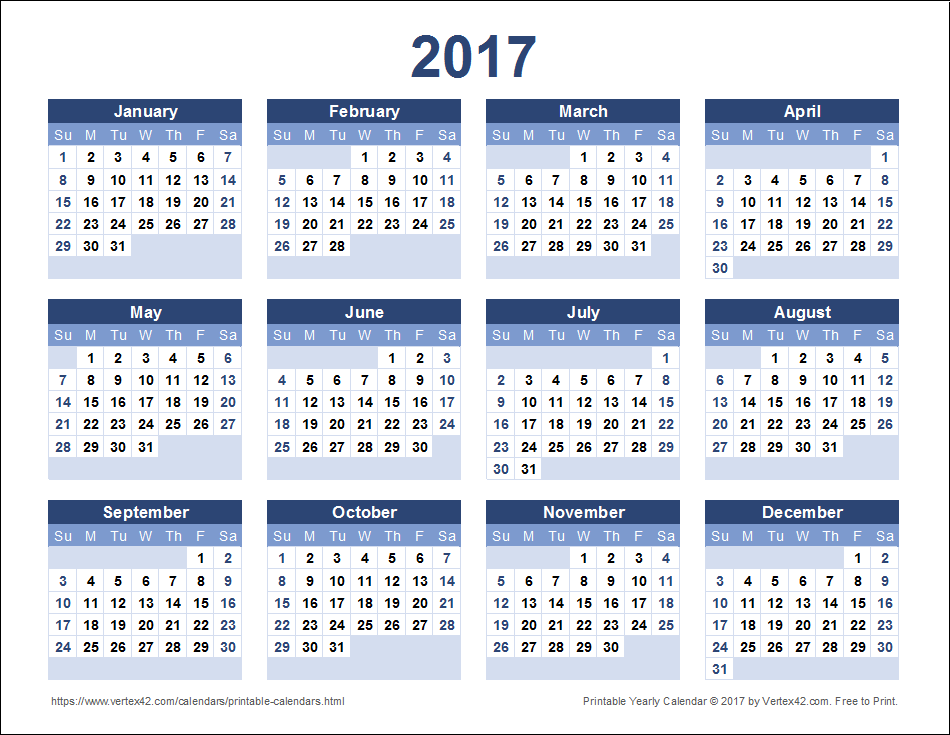 Payroll Calendar 2017 Printable One Page
