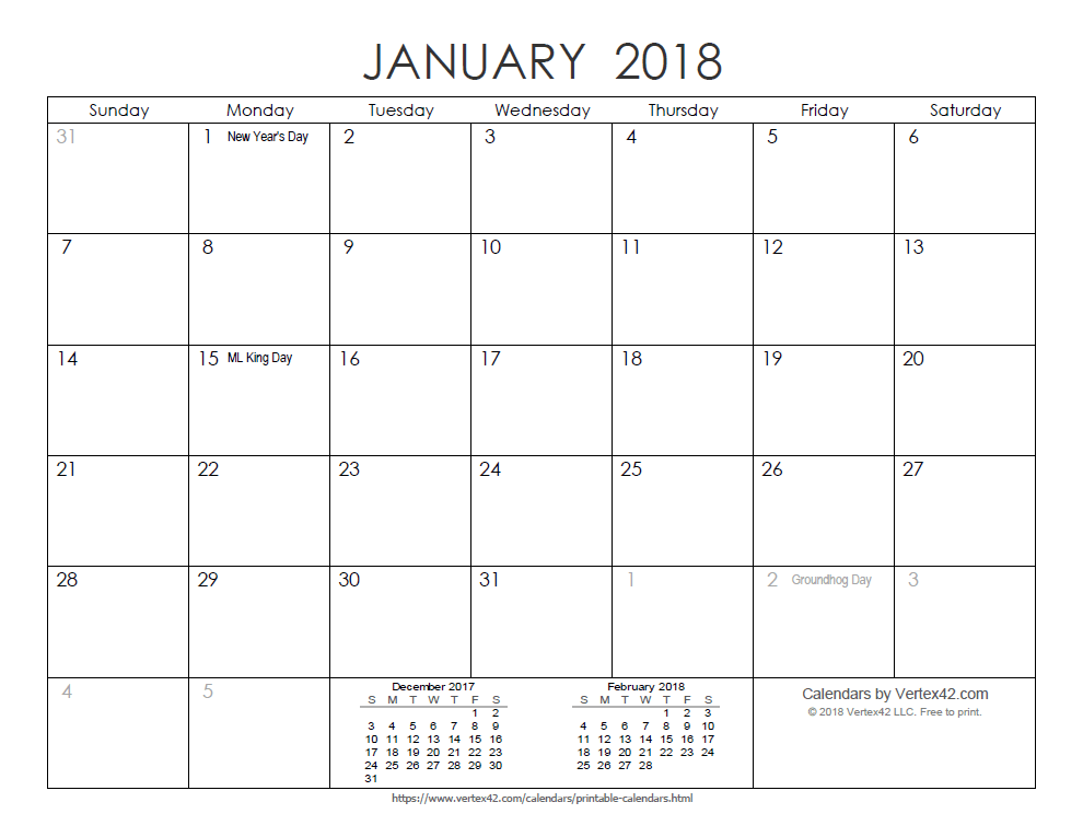 2018 printable monthly ink saver calendar view larger image