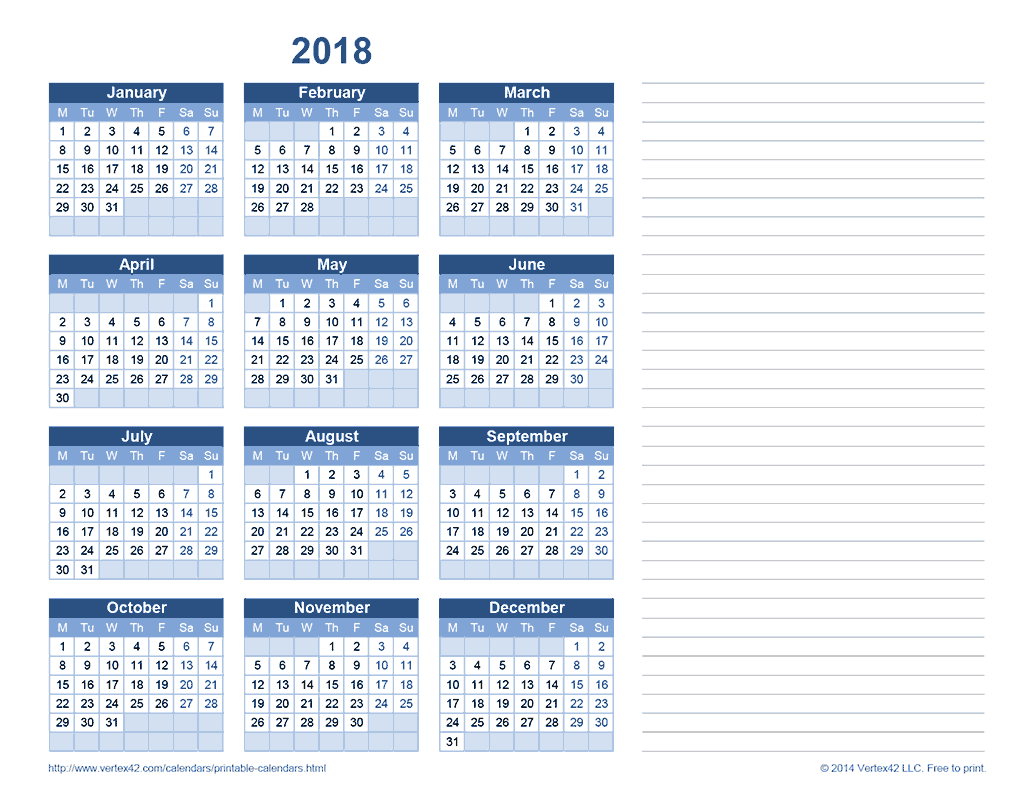 2018 Yearly Calendar with Notes