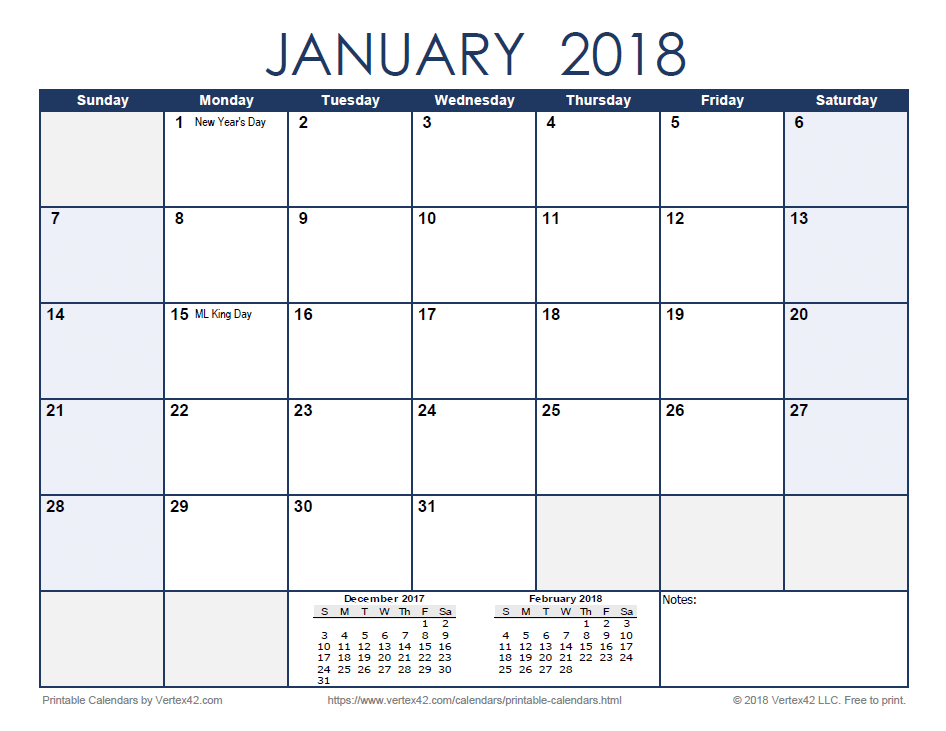 2018 Monthly Calendar - Blue