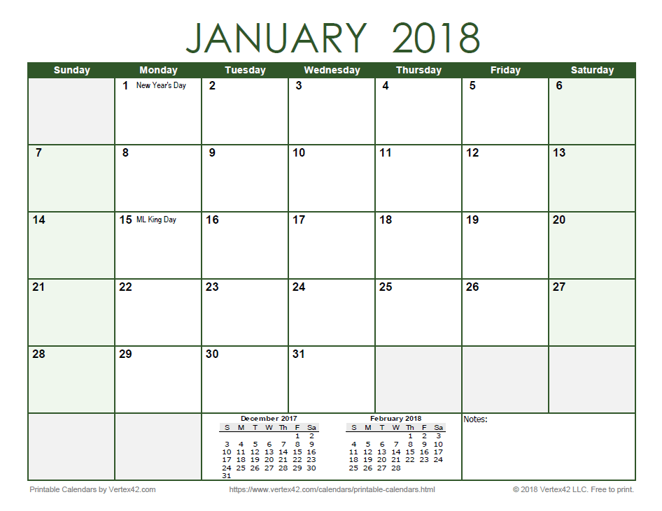 2018 Monthly Calendar - Green