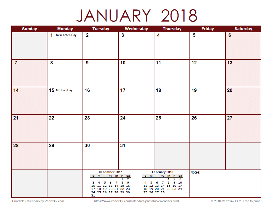 2018 Monthly Calendar - Red