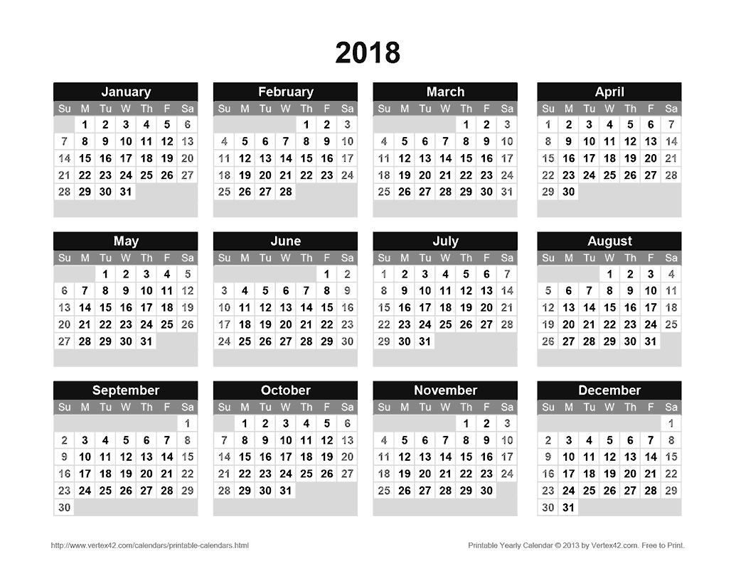 Printable 2018 Yearly Calendar