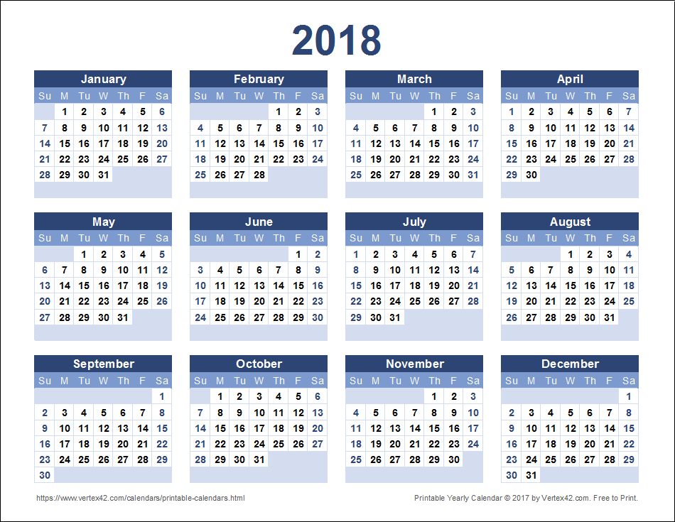 2018 Yearly Calendar - Blue Landscape