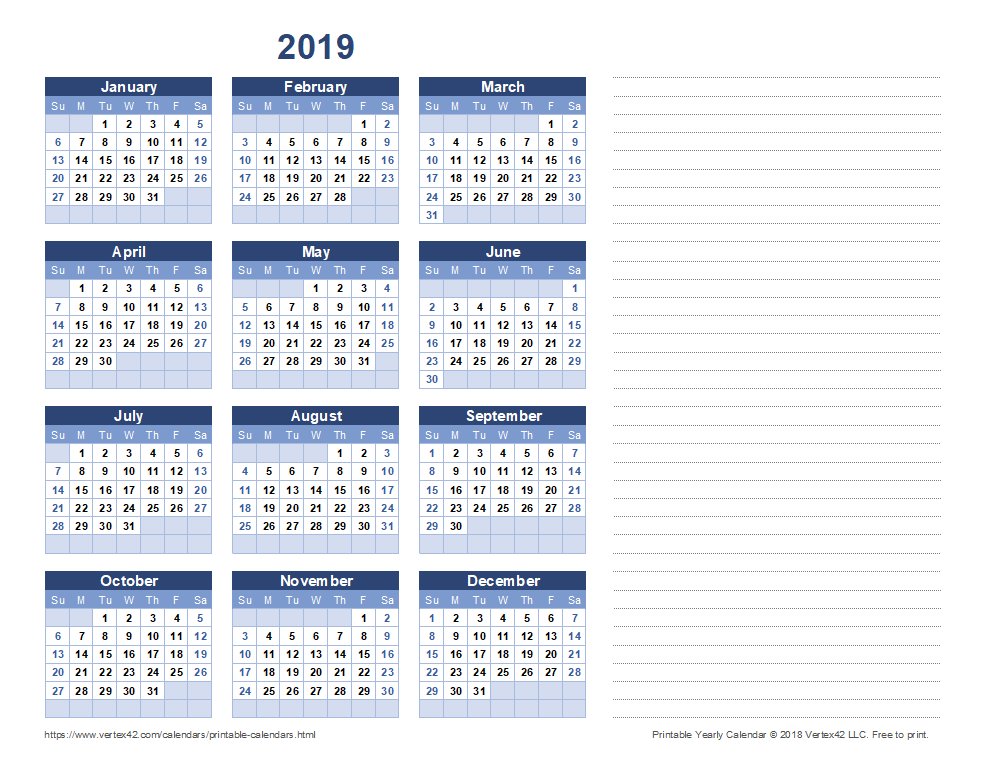 Calendario Verticale 2020.Free Printable Calendar Printable Monthly Calendars
