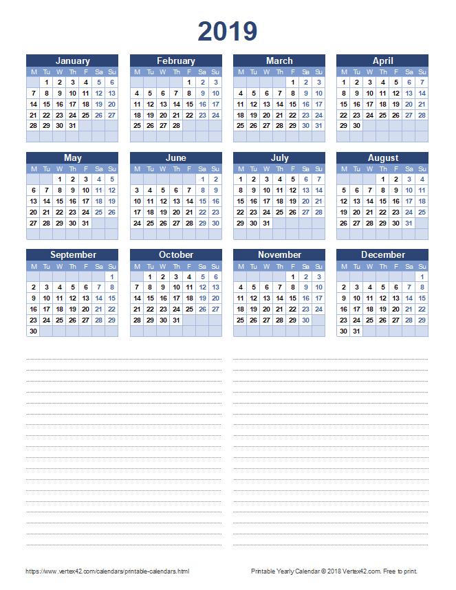 2019 Yearly Calendar with Notes