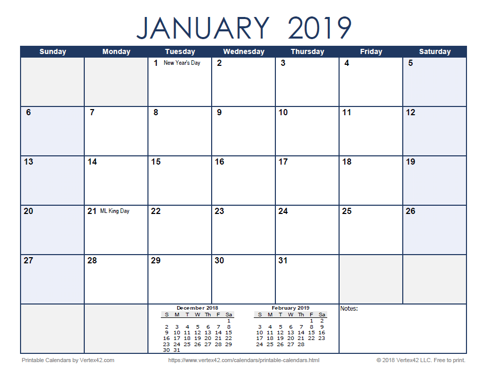 Free Printable Calendar December 2019 And January 2020