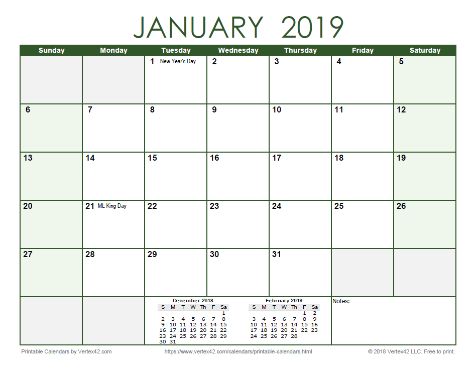2019 Monthly Calendar - Green