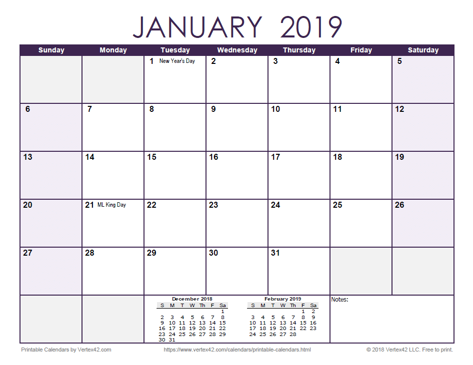 2019 Monthly Calendar - Purple